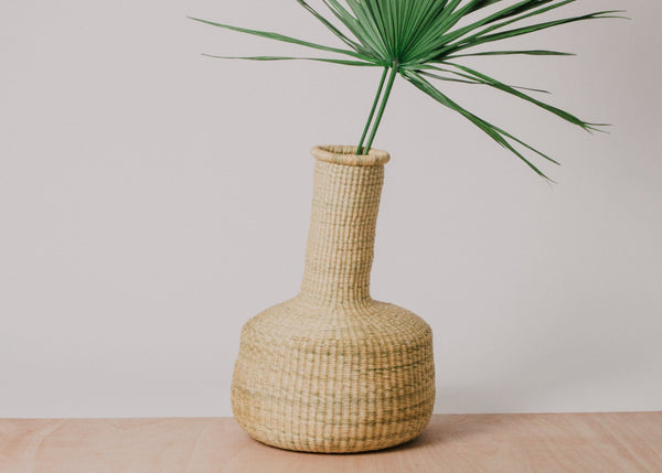 KAZI Natural Fluted Grass Floor Basket KAZI