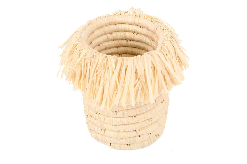 KAZI Natural Fringed Brush Cup Catch All Baskets KAZI