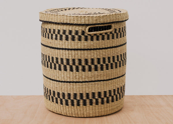 KAZI Natural Patterned Grass Hamper KAZI
