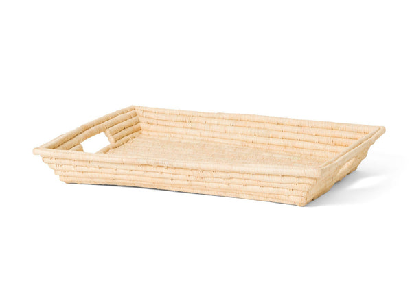 KAZI Natural Rectangular Raffia Tray KAZI