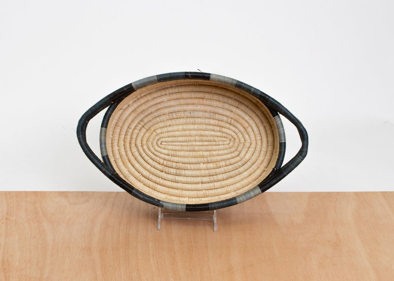 KAZI Opal Gray Color Blocked Oval Basket KAZI