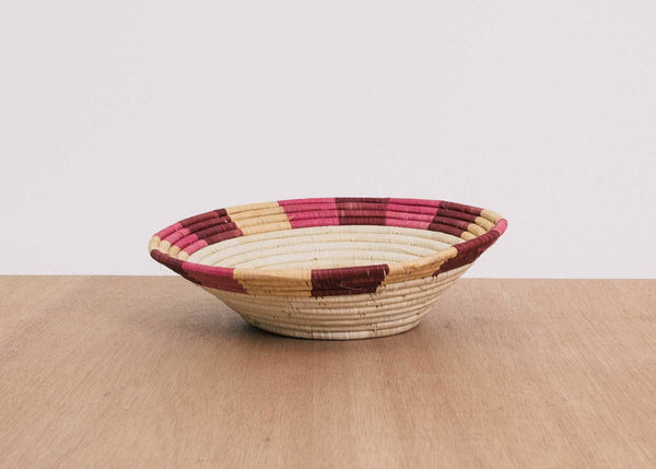 KAZI Rosette Color Blocked Dipped Raffia Large Bowl KAZI