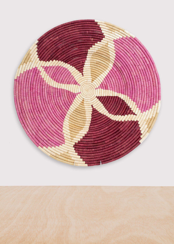 KAZI Rosette Color Blocked Extra Large Raffia Plate KAZI