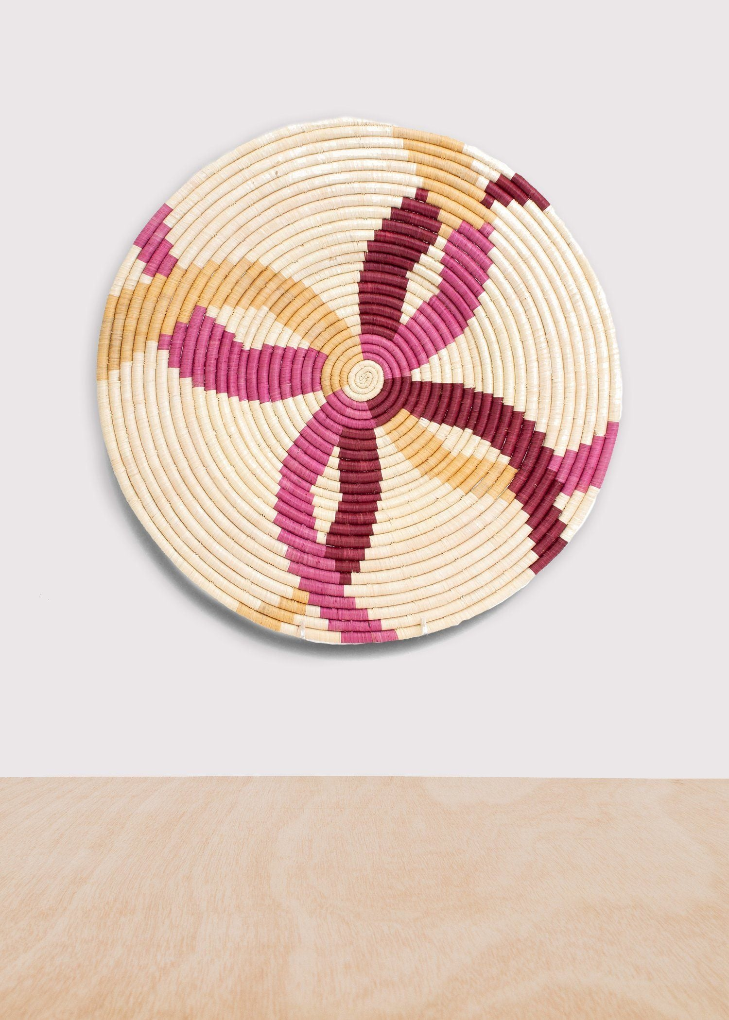 KAZI Rosette Color Blocked Large Raffia Plate KAZI