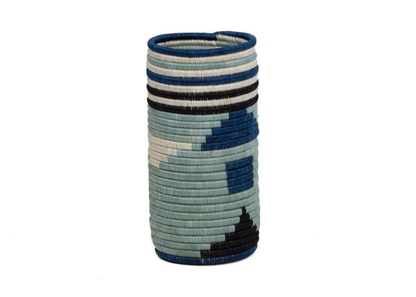KAZI Silver Blue Abstract Vase KAZI