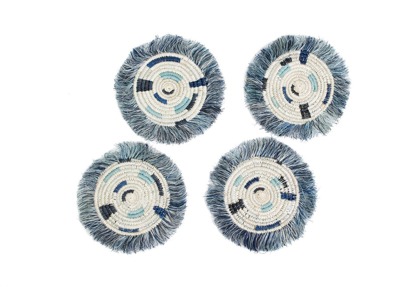 KAZI Silver Blue + Black Fringed Drink Coasters, Set of 4 Coasters KAZI