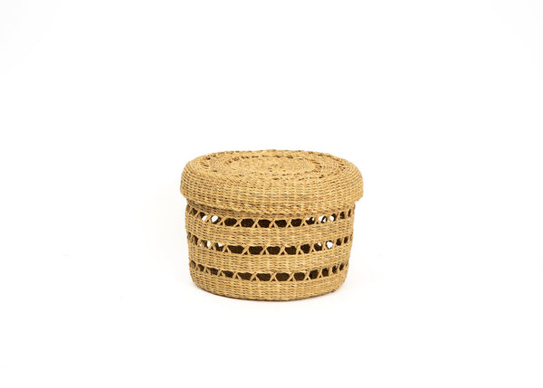 KAZI Small Lidded Lace Grass Box Jar Boxes KAZI