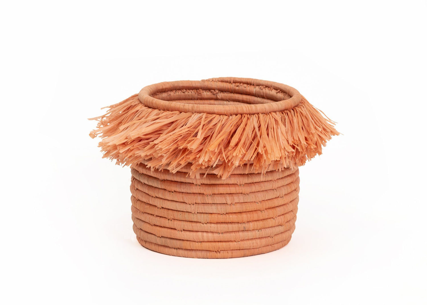 KAZI Small Peach Fringed Catch All Catch All Baskets KAZI