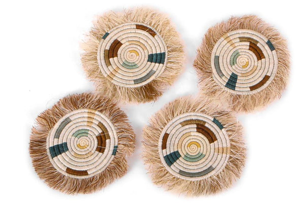 KAZI Soothing Sands Fringed Coasters, Set of 4 Coasters KAZI