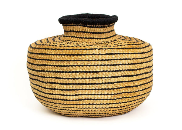 KAZI Striped Black Grass Pot Catch All Baskets KAZI