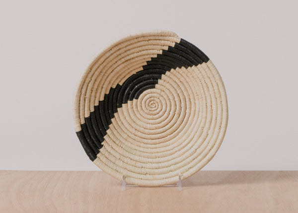 KAZI Striped Black + Natural Medium Bowl Fruit Baskets KAZI