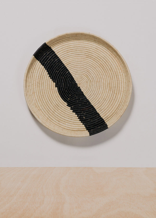 KAZI Striped Black + Natural Raffia Tray III KAZI