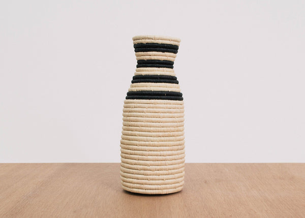KAZI Striped Black Raffia Vase KAZI