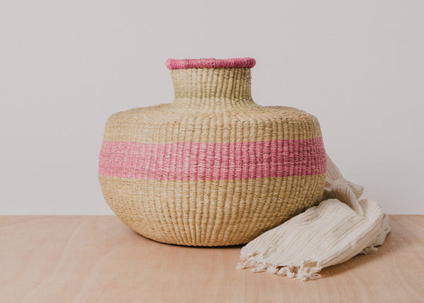 KAZI Striped Soft Pink Grass Pot KAZI