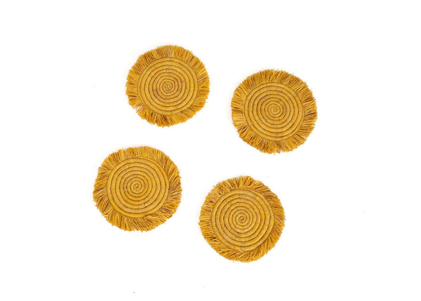 KAZI Sunset Fringed Raffia Coasters KAZI