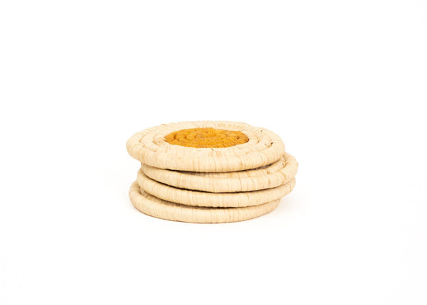 KAZI Sunset On the Dot Raffia Coasters KAZI