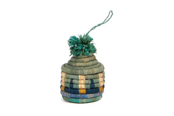 KAZI Teal + Mist Pom Pom Basket Ornament Ornaments KAZI