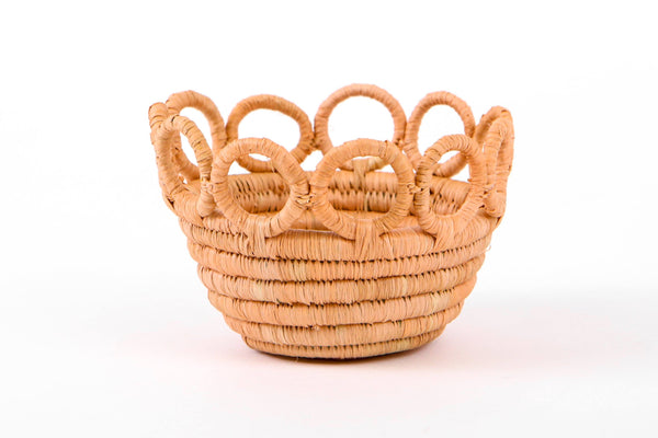 KAZI Tiny Peach Hooped Raffia Catch All Catch All Baskets KAZI