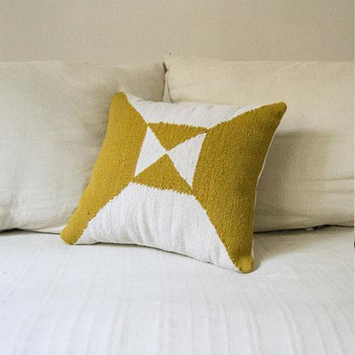 Kiliim Cream Yellow Arrows Cushions (Set of 2) Cushions Kiliim