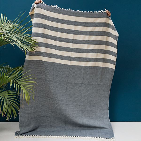 Kiliim NAVY STRIPES THROW Throws Kiliim