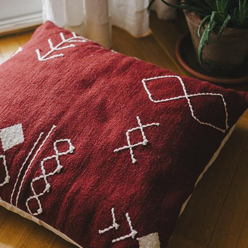Kiliim Scattered Stitch Floor Pillows (Set of 2) Cushions Kiliim Burgundy