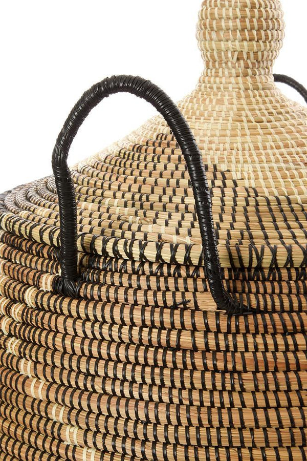 Swahili African Modern Large Black and Cream Diamonds Laundry Hamper Basket