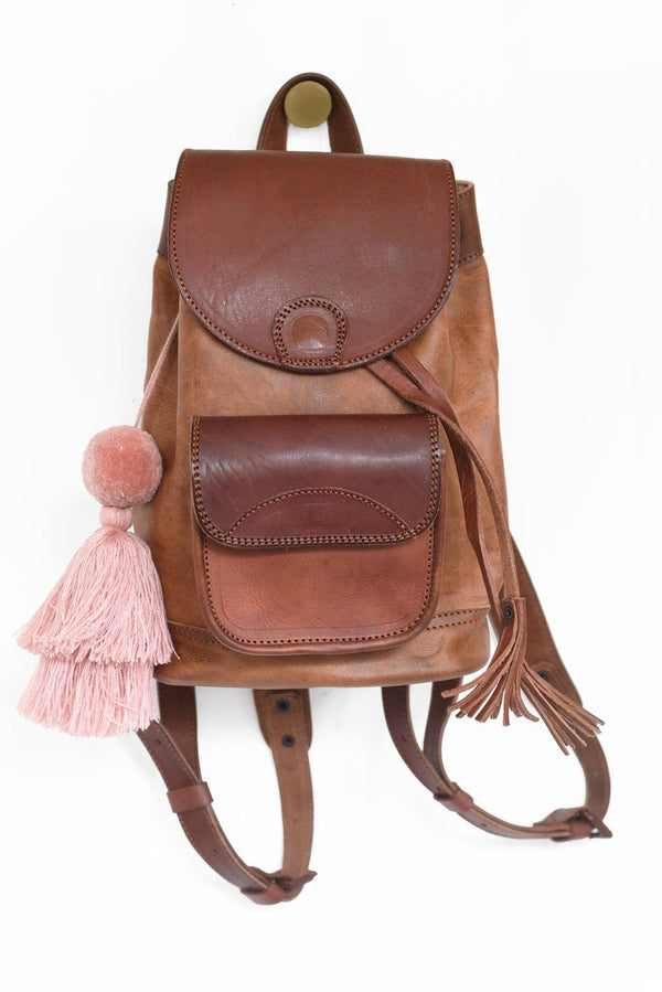 Leather Backpack - Russet Brown Backpack Purse & Clutch Blush Pink