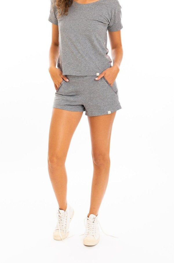 Leena & Lu Organic Pima Short - Heather Gray SHORTS Leena & Lu