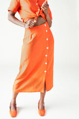Left Edit The Isla Skirt in Spicy Orange Left Edit-5467195572287