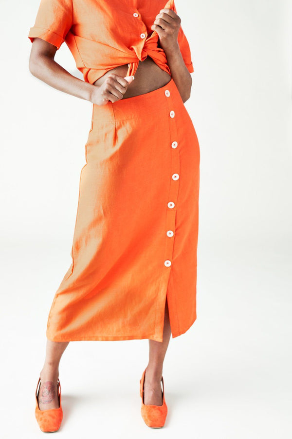 Left Edit The Isla Skirt in Spicy Orange Left Edit