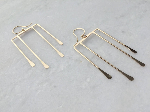 L.Greenwalt Jewelry Deco Brass Hawk Earrings, L.Greenwalt Jewelry, Hammered Brass, Hammered Geometric Earrings, Minimalist Square Earrings, Rectangle Earrings Dangle & Drop Earrings L.Greenwalt Jewelry