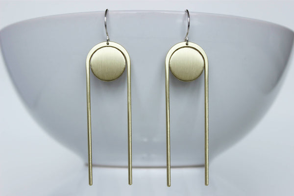 L.Greenwalt Jewelry Geometric, Art Deco, Statement Earrings, Thera, L.Greenwalt Jewelry, Loop Jewelry, Abstract, Modern, Architectural Jewelry, Sterling Silver Dangle & Drop Earrings L.Greenwalt Jewelry