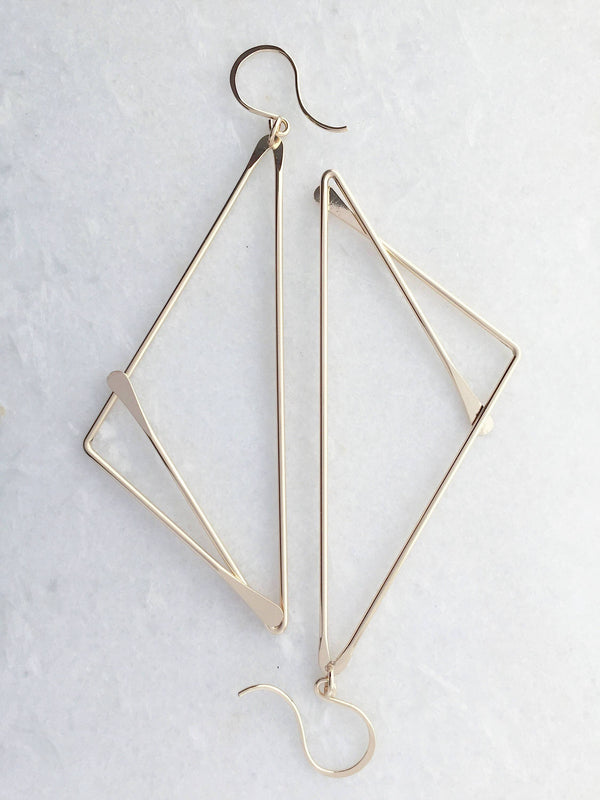 L.Greenwalt Jewelry Geometric, Deco, Brass Fox Earrings, L.Greenwalt Jewelry, Loop Jewelry, Brass Geometric, Hammered, Large Geometric Earrings, Art Deco Dangle & Drop Earrings L.Greenwalt Jewelry