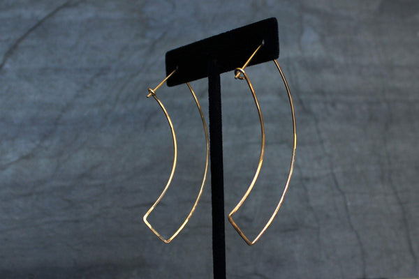 L.Greenwalt Jewelry Geometric Gold Hoop Earrings, Curve, L.Greenwalt Jewelry, Loop Jewelry, Geometric, Threader, Gold Geometric, Modern, Contemporary, Gold Fill Hoop Earrings L.Greenwalt Jewelry