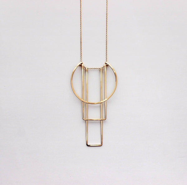 L.Greenwalt Jewelry Geometric Gold Necklace, Simple Totem Necklace, L.Greenwalt Jewelry, Loop Jewelry, sterling silver, gold, deco, geometric, architectural Pendants L.Greenwalt Jewelry