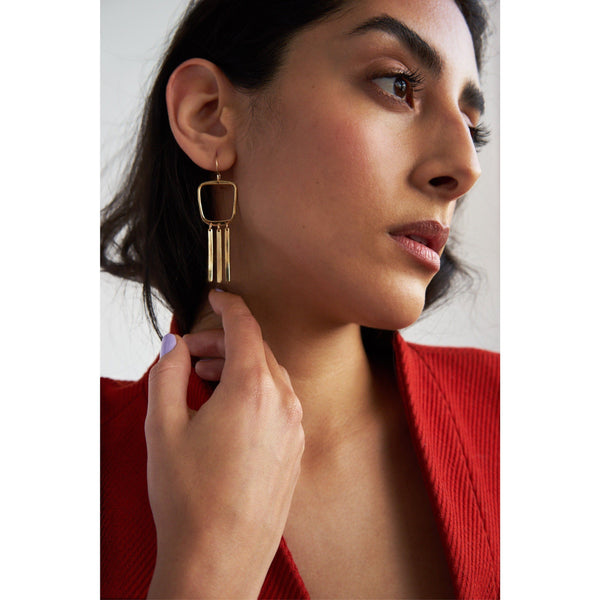 L.Greenwalt Jewelry Geometric Gold Square Tassel Earring, Aurelia, L.Greenwalt Jewelry, Loop Jewelry, Cast Jewelry, Modern, Contemporary, Brass, Bronze, Silver Dangle & Drop Earrings L.Greenwalt Jewelry