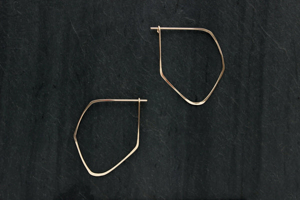 L.Greenwalt Jewelry Gold Hoop Earrings, Faceted, L.Greenwalt Jewelry, Loop Jewelry, Geometric, Threader, Gold, Earrings, Organic Shape, Modern, Contemporary Hoop Earrings L.Greenwalt Jewelry