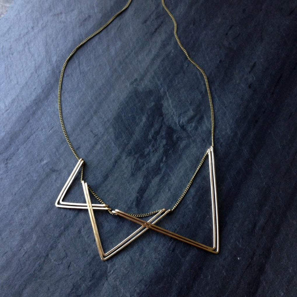 L.Greenwalt Jewelry Gold Necklace, Sails, 14K Gold-fill, Sterling Silver, L.Greenwalt Jewelry, Rose Gold, Triangle Necklace, Deco, Architectural Jewelry Bib Necklaces L.Greenwalt Jewelry