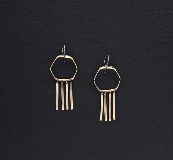 L.Greenwalt Jewelry Gold Tassel Earrings, Cyanea, L.Greenwalt Jewelry, Loop Jewelry, Modern, Tassel,Hexagon, GoldFill, Sterling Silver, Brass, Bronze, Geometric Dangle & Drop Earrings L.Greenwalt Jewelry