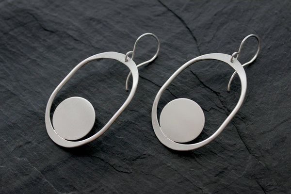L.Greenwalt Jewelry Large Organic Shape Earrings, Saturnia, L.Greenwalt Jewelry, Loop Jewelry, organic, abstract, abstract jewelry, sterling silver, brass Dangle & Drop Earrings L.Greenwalt Jewelry