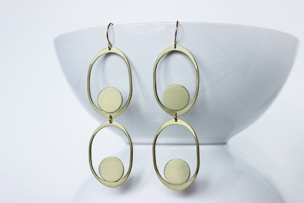 L.Greenwalt Jewelry Large Statement Earrings, Lg. Saturnia Earrings, L.Greenwalt Jewelry, Loop Jewelry, Organic, Soft Shapes, Modern, Contemporary, Long Dangle & Drop Earrings L.Greenwalt Jewelry