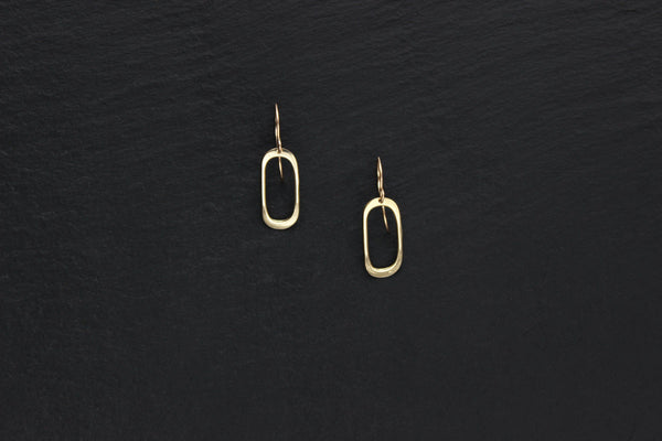 L.Greenwalt Jewelry Silver Earrings, Soft Oval, L.Greenwalt Jewelry, Loop Jewelry, Cast, Brass, Sterling Silver, Bronze, Gold, Organic Shape, Nouveau, Geometric Dangle & Drop Earrings L.Greenwalt Jewelry