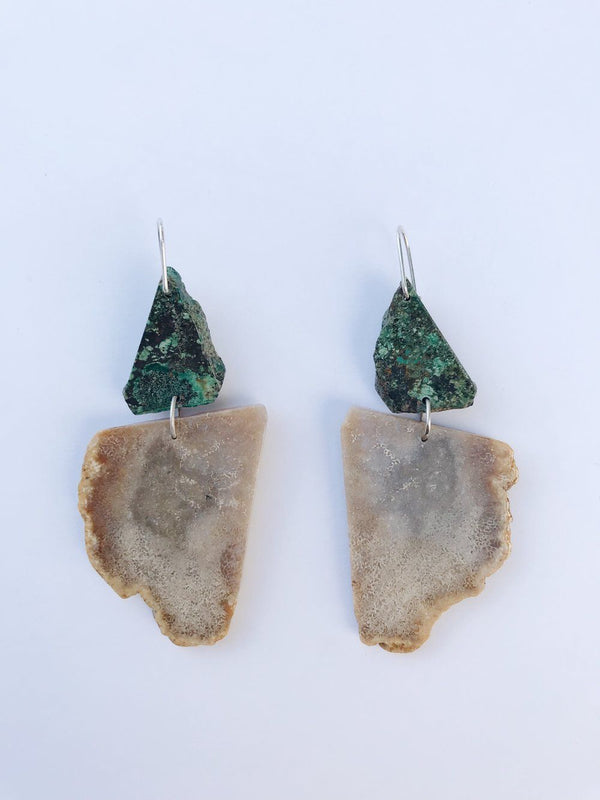 Lumafina African Turquoise and Fossil Stone Earrings Stone Lumafina
