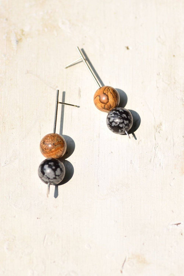 Lumafina Double Stone Long Studs, Minimal Stick Studs | Orb Short Double Studs Earrings Lumafina