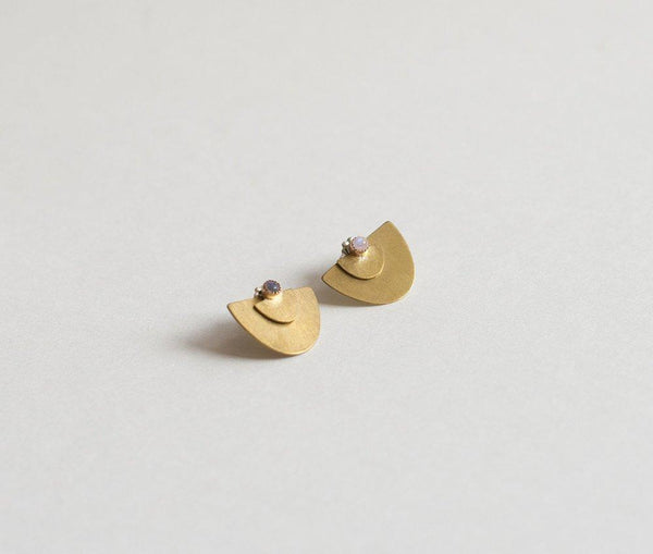 Lumafina Geometric Half Circle Ear Jackets, Minimal Lapis Studs | Suma Ear Jacket Studs Earrings Lumafina