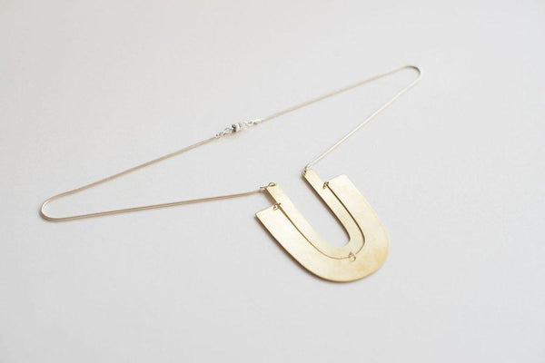 Lumafina Geometric Minimal Collar Necklace, Modernist Arch Pendant Necklace, Geometric Statement Gold Choker | Double Linu Necklace Necklaces Lumafina