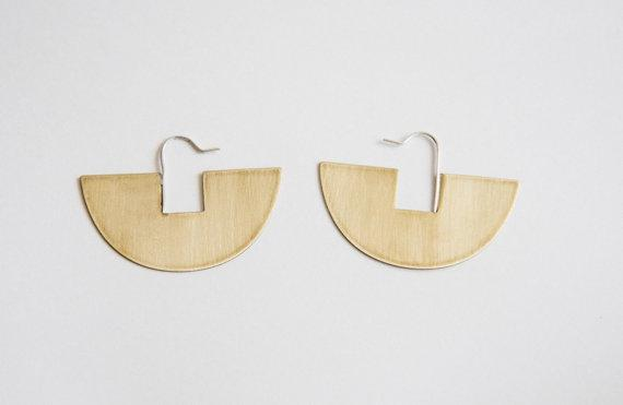 Lumafina Gold Brass Geometric Earrings, Simple Silver Boho Earrings, Gold Statement Minimal Earrings | Arco Iris Hoop Earrings Earrings Lumafina