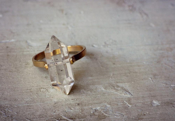 Lumafina Herkimer Diamond Quartz 14k Gold Ring, Boho Wedding Ring, Unisex Engagement Ring | 14k Gold Herkimer Ring Rings Lumafina