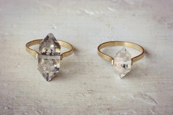 Lumafina Herkimer Diamond Quartz Ring, Boho Wedding Ring, Crystal Ring | Gold Fill Herkimer Ring Rings Lumafina