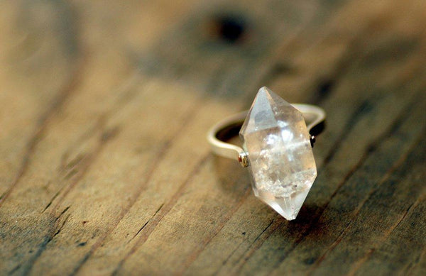 Lumafina Herkimer Diamond Ring, Natural Quartz, Clear Crystal Ring | Sterling Silver Herkimer Ring Rings Lumafina